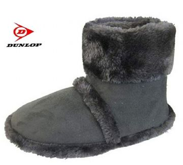 Men's Dunlop Furry Boot Slippers GREY